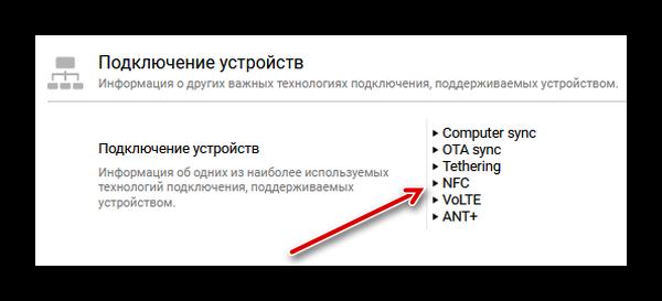 NFC среди параметров телефона
