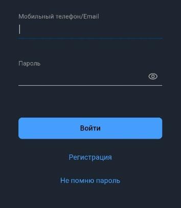 Форма регистрации в приложении