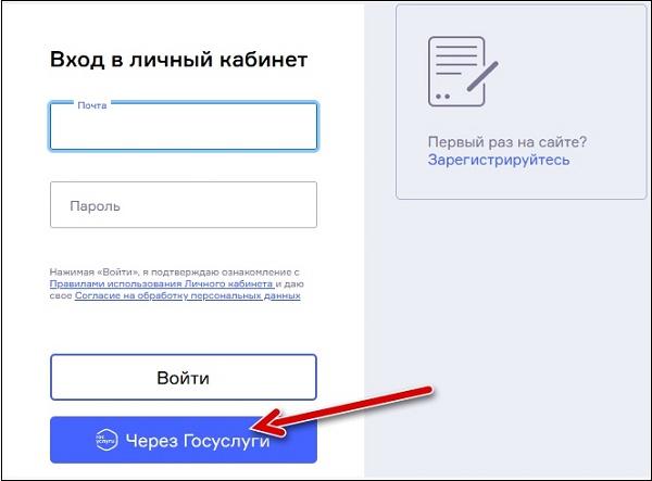 """Кнопка """"Через Госуслуги"""""""