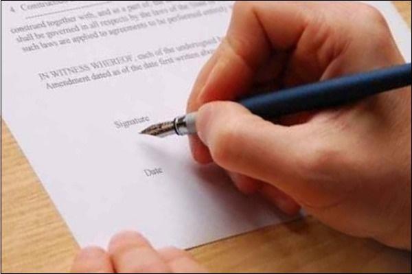 Подпись на договоре