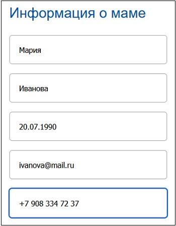 "Раздел ""Информация о матери"""