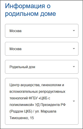 """Раздел """"Информации о родильном доме"""""""