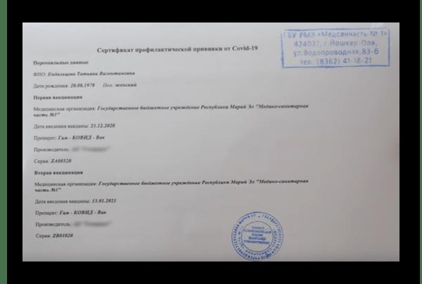 Сертификат вакцинированного