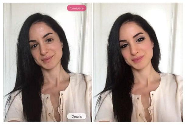 До и после приложения Youcam Makeup