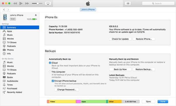 Restore iPhone в Айтюнс