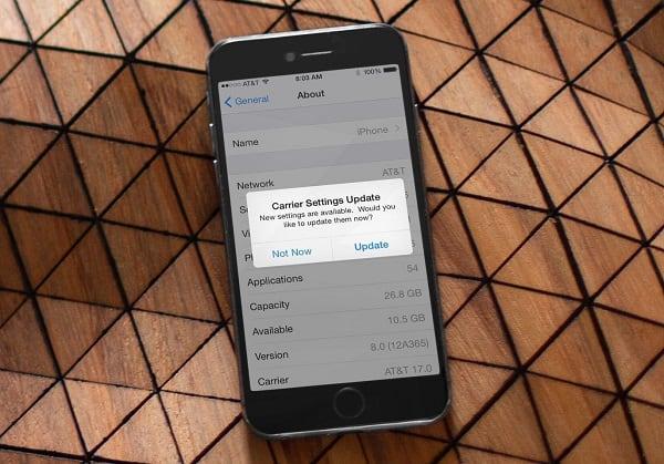 Сообщение Carrier на Aйфоне