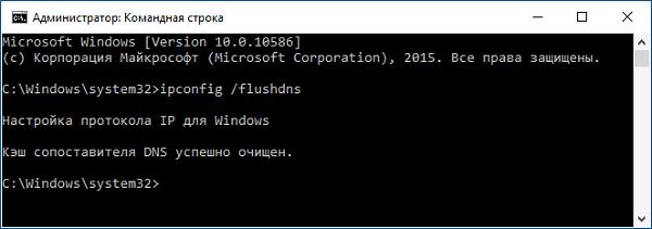 Выполняем ipconfig/flushdns