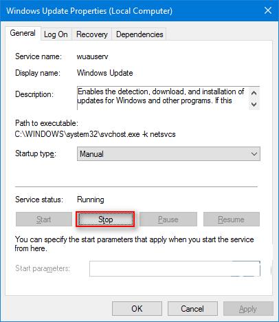 Останавливаем центр обновления Windows 10