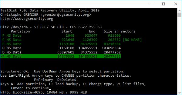 Программа TestDisk