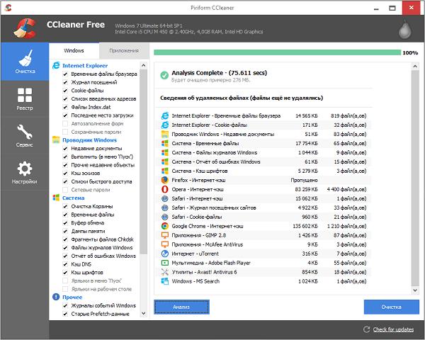Утилита CCleaner по очистке и оптимизации 32-битных и 64-разрядных ОС