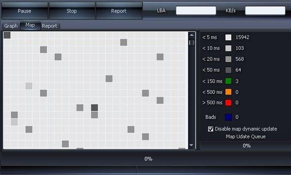 Сканирование диска программой Hddscan