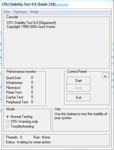"Рабочее окно программы ""CPU Stability Test"""