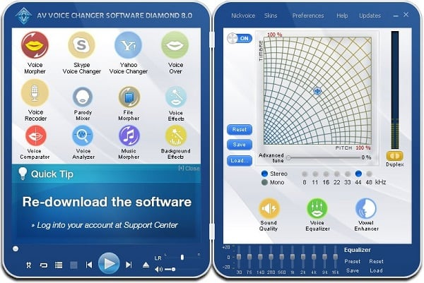 Рабочее окно программы Рабочий экран AV Voice Changer Software Diamond