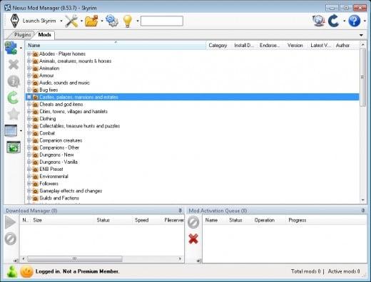Рабочее окно программы Nexus Mod Manager