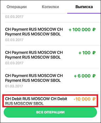 Списание денег CH Debit RUS MOSCOW SBOL