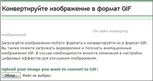 Используйте возможности сервиса online-converte.com для конвертации файла из формата mp4 в gif