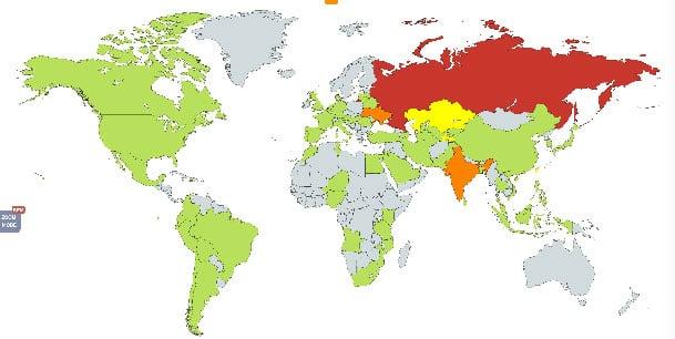 Карта, как распространяется WannaCry