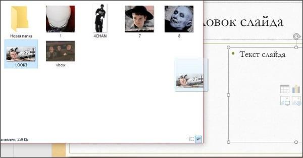 Зажав левую клавишу мыши перетяните нужную гифку на слайд