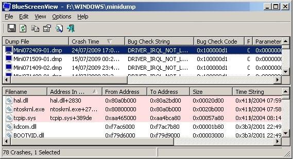 """Программа """"BlueScreenView"""" поможет проанализровать дамп памяти, и выявить проблемный драйвер"""