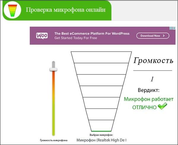 Рабочее окно сервиса mictest.ru