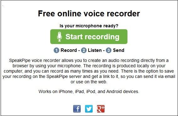 Рабочий экран сервиса speakpipe.com