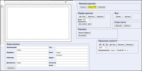 Интерфейс сервиса vizit-ka.ru