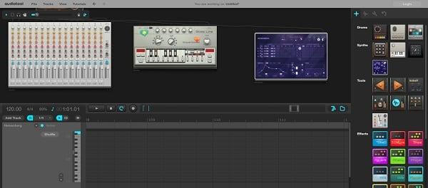 Три синтезатора на рабочей панели сервиса Audiotool.com