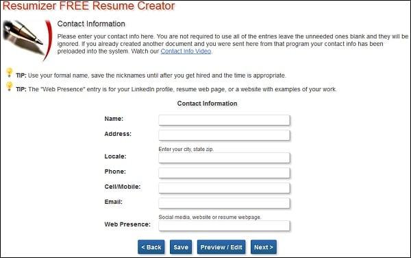 Рабочий экран resumizer.com