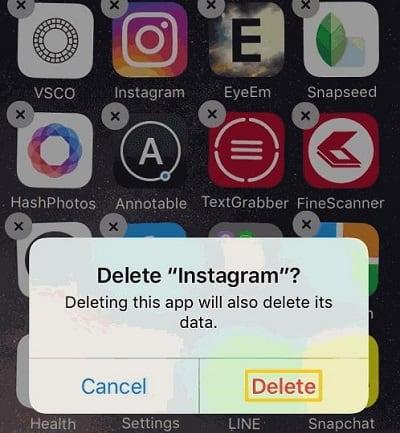 "На iOS удалите ""Инстаграм"" нажатием на крестик"