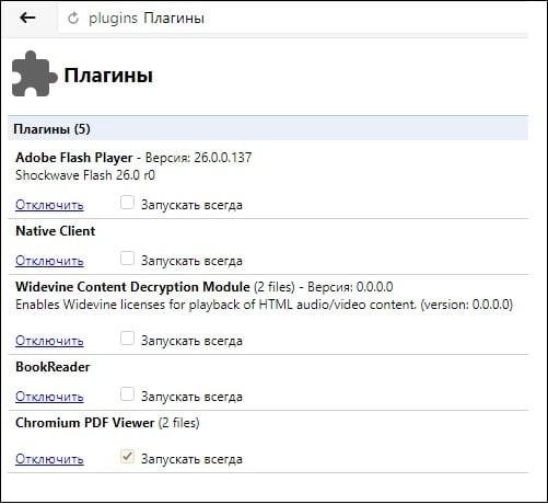 """Классический набор плагинов в """"Яндекс.Браузер"""""""