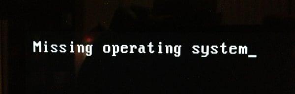 Сообщение об ошибке Missing operating system на экране ПК