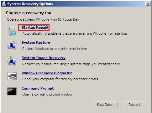"""Используйте """"Startup repair"""" для восстановления корректной загрузки вашей ОС"""