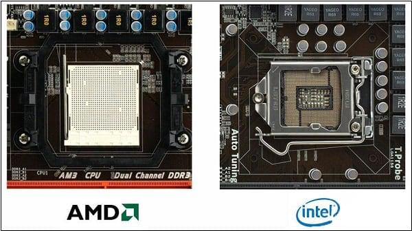 Сокет под процессоры АМД имеет места для ножек ЦП, а сокет под процессоры Интел сам имеет такие ножки