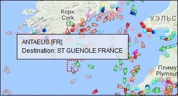 При наведении курсора на нужное судно вы получите информацию о его названии и пути следования