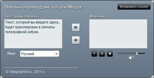 Онлайн-переводчик сервиса telegraphist.ru