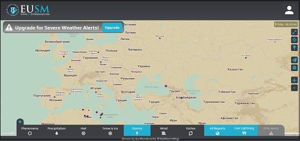Eustormmap.com позиционируется как метеорологический сервис для европейского пользователя