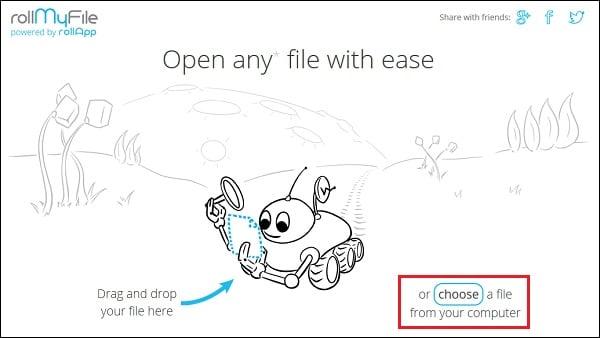 """Для загрузки вашего файла на rollmyfile.com нажмите на """"Choose"""" справа"""