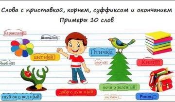 Слова с приставкой, корнем, суффиксом и окончанием Примеры 10 слов