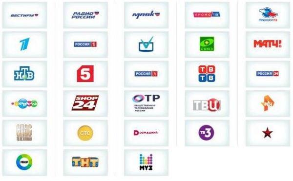 Каналы, предоставляемые телеоператором Триколор ТВ