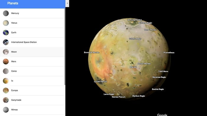 Обзор планет в Гугл Картах