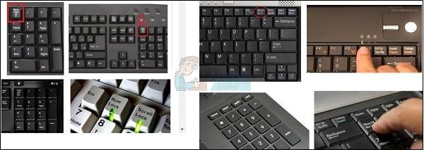 Клавиша Нум Лок на различных видах клавиатур