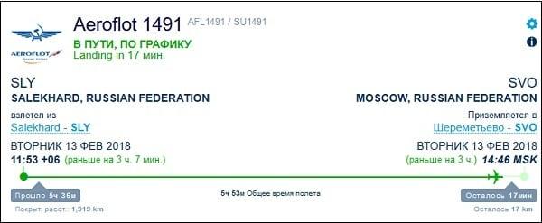 Данные о найденном самолёте на ru.flightaware.com