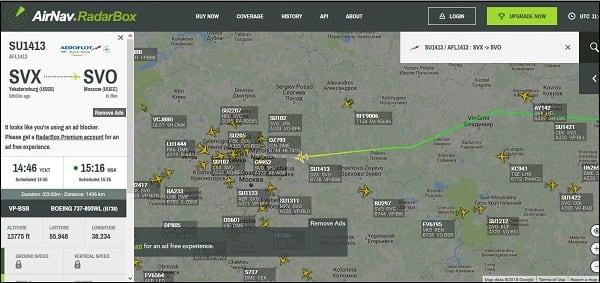 Отслеживание рейса на radarbox24.com