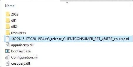 """Установочные файлы с расширением """".esd"""" на диске"""