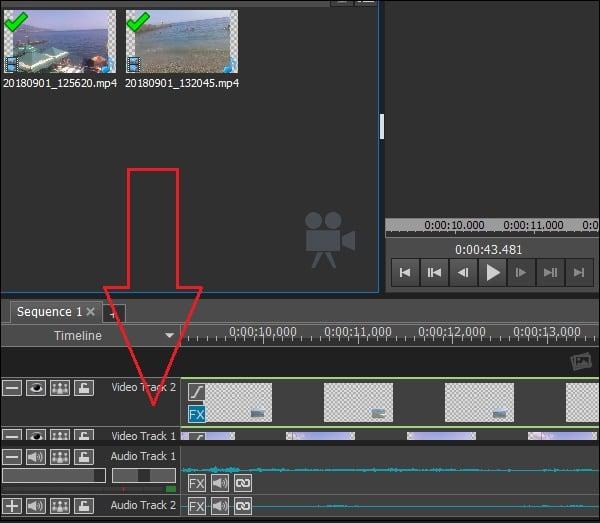 Перетащите ваше видео в нижний ряд редактирования