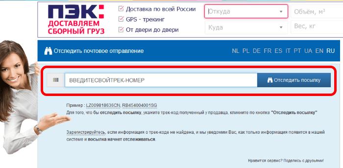 Сервис отслеживания писем и посылок track24.ru